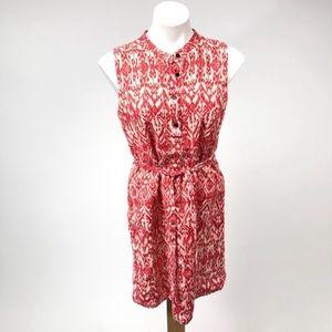 🔥Cynthia Rowley patterned linen tie shift dress